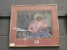 (3) Framed and glazed pastel entitled Venetian Carnival signed B.Young