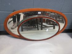 2 oval Edwardian mirrors