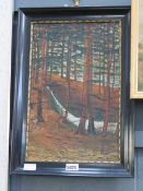 (6) Oil on canvas Roebuck in pine woodland signed H.Hees