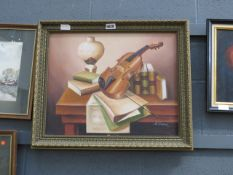 (2) Modern oil on canvas - still life violin with sheet music signed A.Warner
