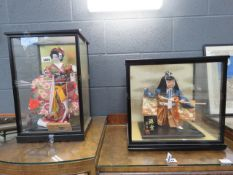 2 Japanese figures - Geisha Girl and girl with sword