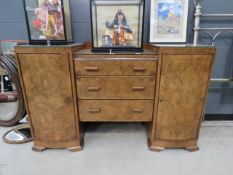 5002 Walnut Art Deco sideboard with 3 central drawers