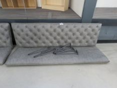 5008 Grey studded back bench seat, with legs (no fixings)
