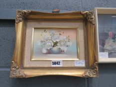 (22) Modern oil,on canvas - still life with white flowers