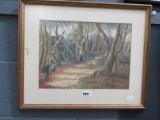 Watercolour of path through woodland