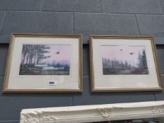 (39) Pair of Limited Edition prints of Pheasants over woodland