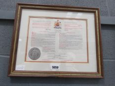 (14) Framed and glazed Elizabeth II proclamation