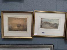 (31) 2 watercolours - coastal market scene plus sailing ships in harbour in the style of continental