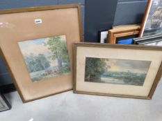 2 Victorian watercolours - Horse and cart plus figures under oak tree and River with reeds and