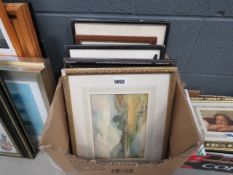 Box containing quantity of watercolours and engravings inc. coastal scenes, rowing boats by lake,