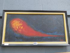 (4) Oil on board of abstract in the shape of a fire ball signed Del