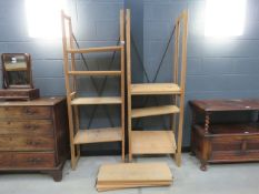 Pair of pine open fronted bookcases