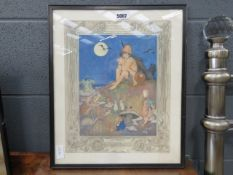 Fantasy print - boy with flute, fairies and woodland creatures