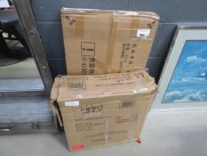 2 boxes containing furniture parts
