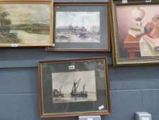Pair of Charles Read watercolours, coastal scenes with boats