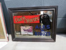Coach and horses advertising mirror