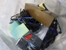 Bag containing various loose sunglasses cases and glasses, some damaged