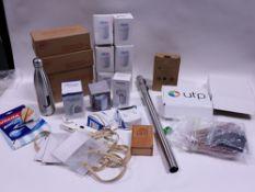 Virgin water filters, USB humidifiers, till roll, lint remover, bottle, small bags, salt inhaler,