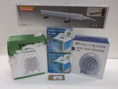 Eco heater, 2 Artic air coolers and 2 fan heaters