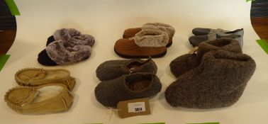 Bag of assorted sandals and slippers