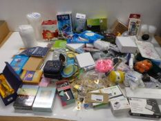 Large bag of household sundries, Amaryllis bulb kit, blood glucose monitor, telescope, acrylic