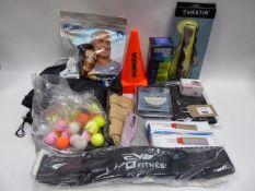 Bag containing Westin Crazy Daisy, golf balls, sports cones, pulse oximeter, peak flow meter, bike