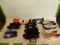 Bag of assorted trainers and footwear accessories (some used)