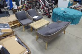 Rattan style 4 piece garden set inc. 2 seater sofa, 2 tub chairs and wooden topped table