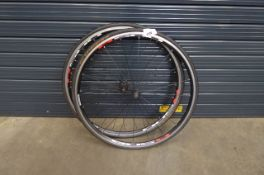 Two Shimano bike wheels and tyres