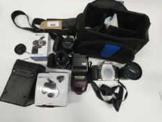 Bag containing various cameras/camera accessories; Minolta 505si Super with accessories and others