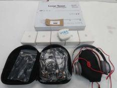 Bag containing mini bluetooth speakers, Beats Solo headphones, toner cartridges