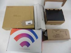 3 various Sky broadband hub routers and accessories with boxes