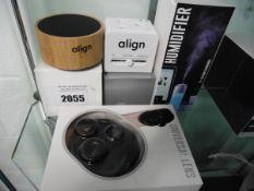 Align portable travel adaptor, speaker, universal lens adaptor and humidifier