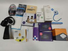 Bag containing Hue webcam, Hive Hub, BT 4G Assures, BT Everyday Phone set, cables, headphones etc