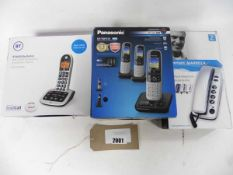 Panasonic triple cordless digital answer phone set, BT Big button answer phone and Geemarc handset