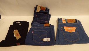 4 pairs of Levis jeans, 3 tagged and 1 untagged