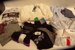 Selection of mixed ladies clothing items, some are tagged and untagged. To include Puma, DKNY,