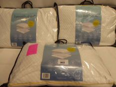 3 Snuggle down breathable memory foam pillows