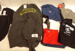 Black Champion regular fit jumper, size S plus a mens grey Superdry hoodie, size L. Levis polo