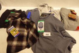 Bag containing mens checkered fleece top, size L. Full zipped fleece sized XL plus 2 Jacks NY