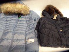 Ladies full zipped fur hooded Harvey and Jones coat, size 16. Ladies full zipped fur hooded Andrew