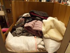 Large pallet of mixed used clothing, linen, pillows, etc.