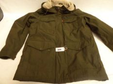 Gents full zipped hooded Levis jacket in green, size M, untagged and used