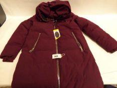 Ladies full zipped hooded DKNY coat, sized S