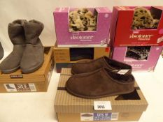 3 pairs of ladies pillow step slippers, pair of mens Dearfoam memory foam slippers , a pair of