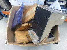 Box containing Dualit Espresso coffee machine, wall mounted shelving etc