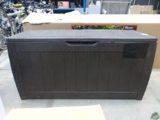 Small brown Keter storage box