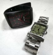 Police 13077M watch with black rubberised strap and red dials and an Emporio Armani watch with