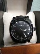 2423 - LA Banus black leather strap wristwatch with box