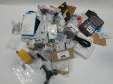 Small bag containing quantity of mobile phone accessories; earphones, adapters, leads, etc